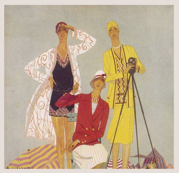 Yellow two-piece dress with jacket & turban; striped skirt & blouse with red double- breasted jacket; black & red bathing costume & cap & beach robe with large floral design