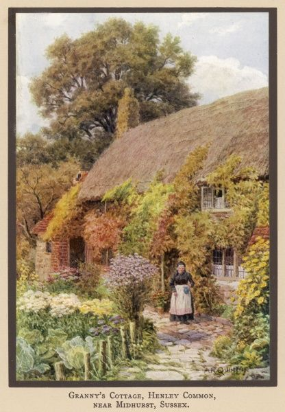 Granny's Cottage, Henley Common, near Midhurst, Sussex with Granny outside
