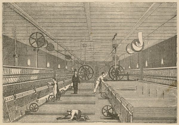 Mule-spinning in a cotton factory. Children were required to sweep inside the dangerous and continually operating machinery