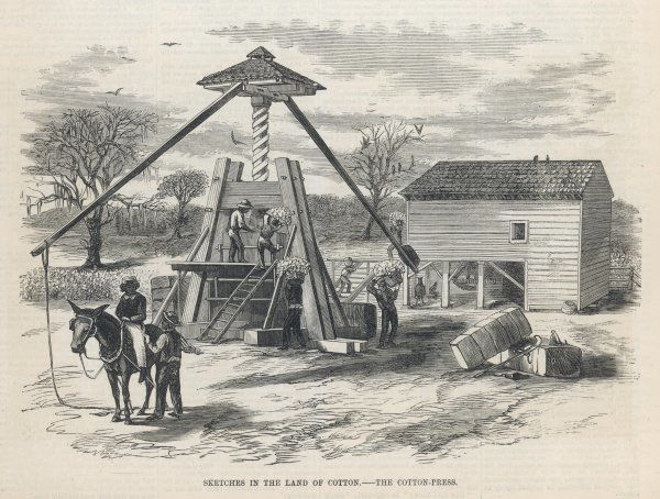 A cotton press in Southern US