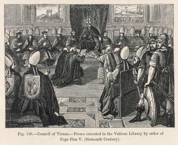 At the Council of Vienne (on the Rhone) pope Clemens V (from Avignon) supports Philippe IV by withdrawing support for the Templars, thus ensuring their destruction