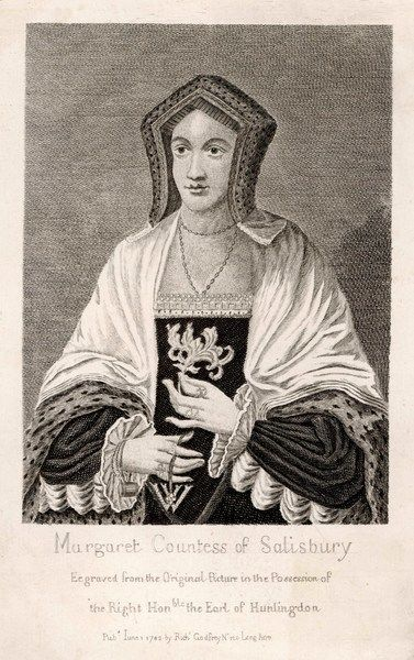 MARGARET POLE countess of SALISBURY, mother of Cardinal Pole, accused of conspiring against Henry VIII and beheaded without trial (but with difficulty) for treason