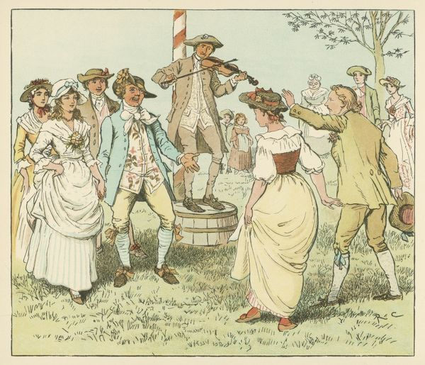 English countryfolk dancing round the maypole while a fiddler fiddles