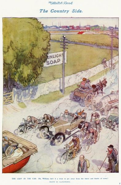 A lady in the back of an open top car (bottom left) relaxes during a drive in the country and says, 'Oh William, isn't it a treat to get away from the hurry and bustle of town.?, blissfully unaware that various cyclists, horse and carts