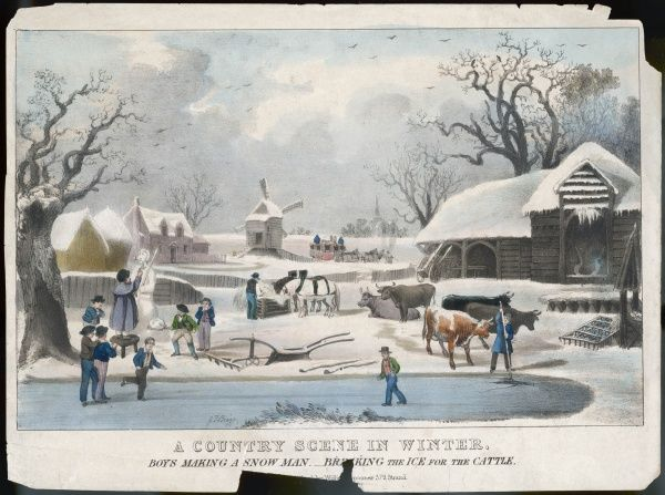 'A Country Scene in Winter' - boys making a snowman and sliding on the ice - breaking the ice for the cattle - a coach struggling through the snow