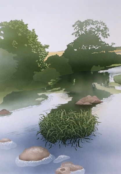 A view of a countryside stream. Painting by Malcolm Greensmith