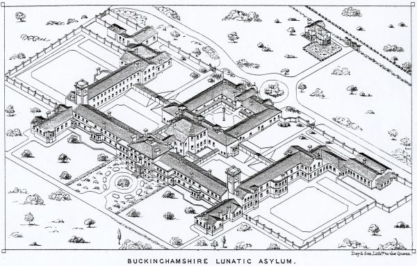 Aerial view of the Buckinghamshire County Lunatic Asylum at Stone, near Aylesbury