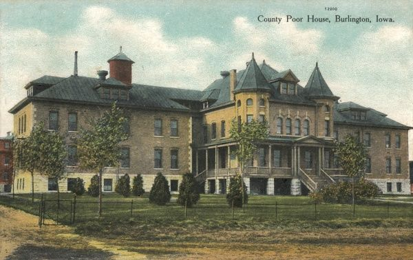 The county poor house at Burlington, Iowa, USA