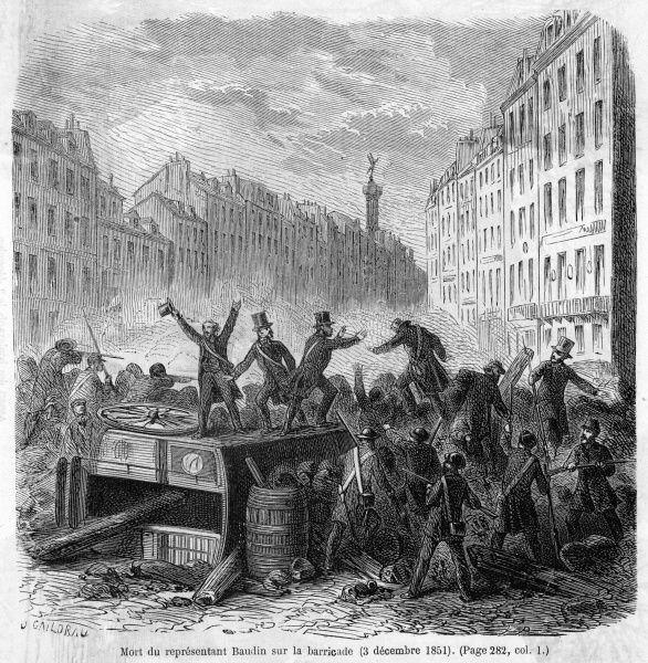 Napoleon's coup triggers popular resistance : Republicans hamper troop movements by piling obstacles in the boulevard Bonne Nouvelle