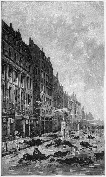 The boulevard Montmartre after the street had been 'cleared' by troops supporting Napoleon