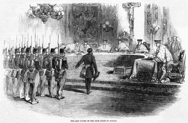 The High Court of Justice is suspended when troops loyal to Napoleon invade the chamber