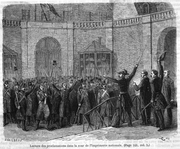At the Imprimerie Nationale, Napoleon's proclamations are read out to the people : some are jubilant, others horrified