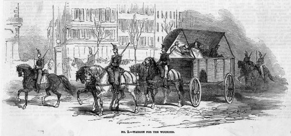 Unfortunately, a lot of Parisians get themselves hurt when troops loyal to Napoleon clear the streets of Republican opponents : they are carted away in wagons