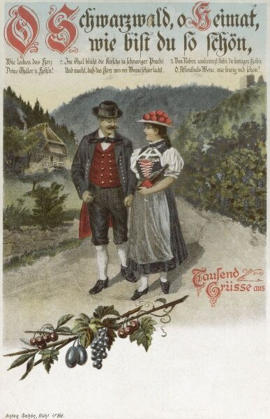 A couple strolling along hand-in-hand in the Black Forest, Germany. The lady is carrying bottle of red wine, likely to be enjoyed in some shady spot away from prying eyes.... Date: circa 1910s