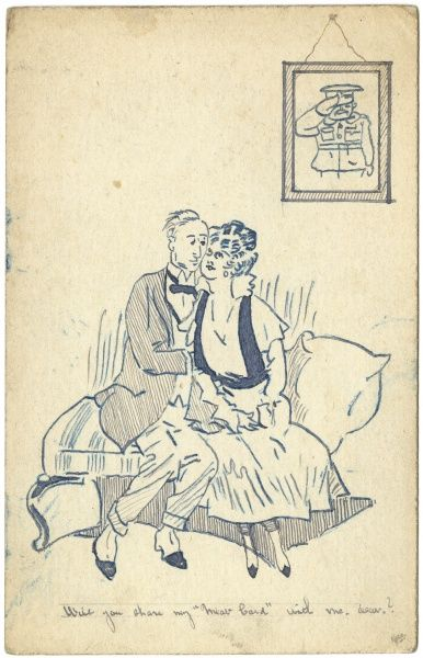 A couple cuddling a sofa during the First World War, with a picture of a saluting officer on the wall behind them -- no doubt her absent husband. She asks: Will you share my Meat Card with me, dear?  circa 1916