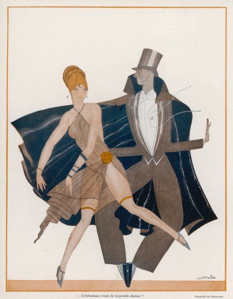 He in top hat and cape, she in considerably less, dance the latest fashionable dance