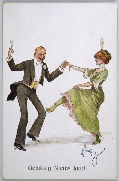 A couple in evening dress dance the New Year in - he is admiring the lady's slender ankle