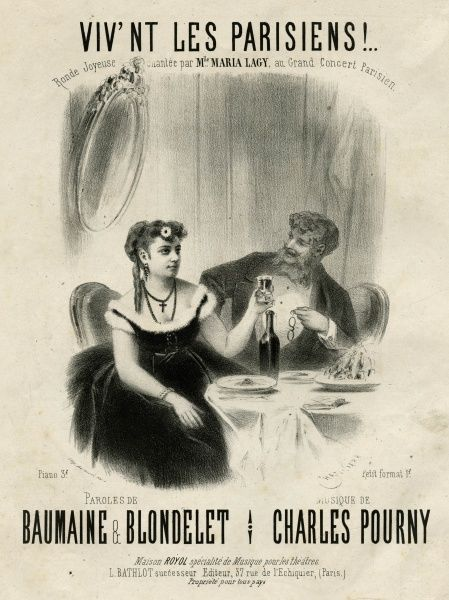 'VIV'NT LES PARISIENS !' Two Parisians living it up - but is the young lady with the crucifix hesitating to take the first sip which could be the first step to ruin ? Date: circa 1860