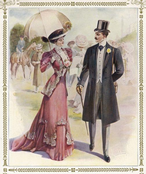 An elegant couple at the races. He is wearing a frock coat, top hat, grey trousers, cravat and buttonhole. She is wearing a jacket body with gigot sleeves, a high necked blouse and lace jabot, waistcoat, skirt with dentate tunic and train