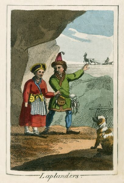 A couple of Sami people. A book of national types and costumes from the early 19th century