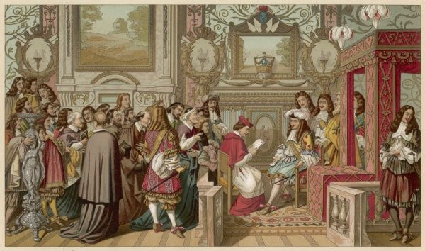 Cardinal Chigi, on behalf of his uncle pope Alexander VII, apologises to Louis XIV for ill-treatment of some French at Rome ; the interview takes place in Louis' bedroom