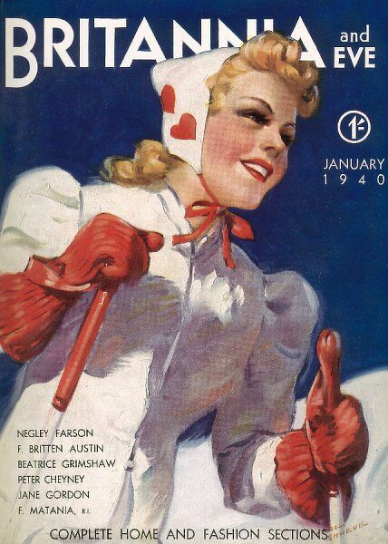 Front cover design for Britannia & Eve in the 1940s showing a blonde woman in a skiing outfit