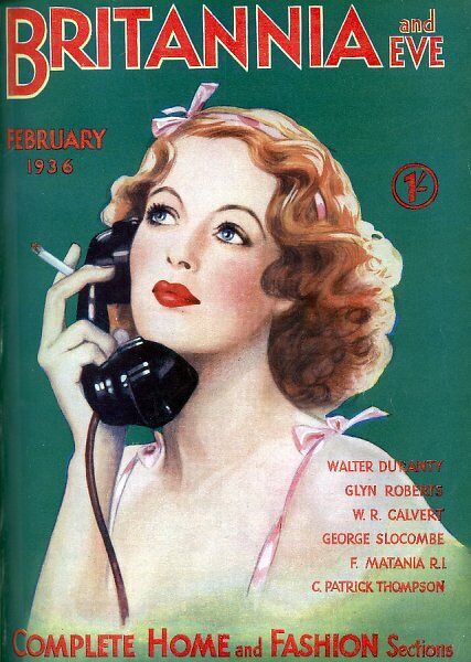 Front cover illustration for Britannia & Eve magazine showing a fashionable young woman smoking while talking on the telephone. Issue dated 1st February 1936