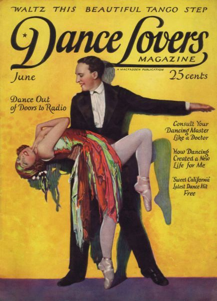 Art deco cover of Dance magazine, June 1924, featuring the dancing act of Fowler and Tamara. Date: 1924