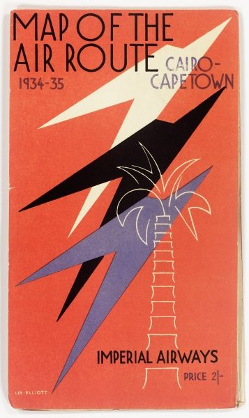 Cover design, Imperial Airways route map, Cairo to Cape Town. With three stylised planes (or birds) and the outline of a palm tree on an orange background.  1934-1935