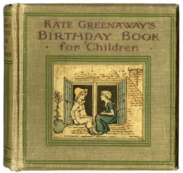 Cover design, Kate Greenaway's Birthday Book for Children, showing a girl and a boy sitting on a window sill.  1880