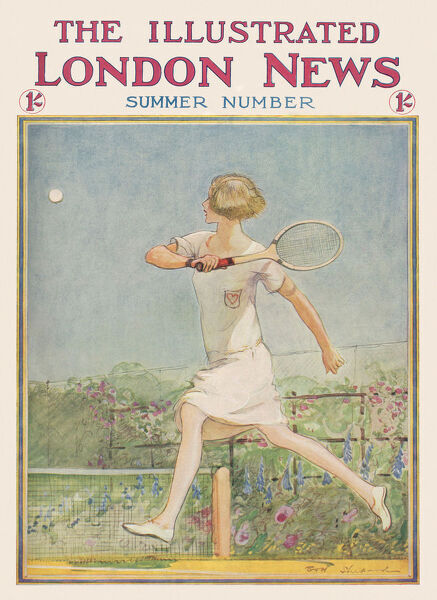 Front cover illustration by E. H. Shepherd for The Illustrated London News showing a young woman playing tennis