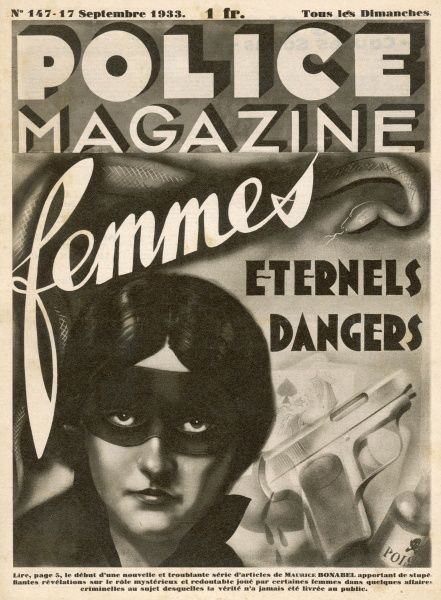 Magazine cover showing a 'dangerous' masked woman