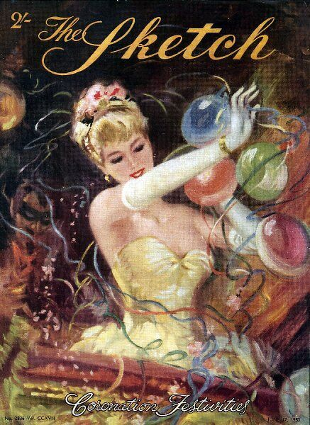 Front cover illustration for The Sketch's Coronation Festivities number. It shows a woman in a typical 1950s party dress surrounded by balloons and streamers