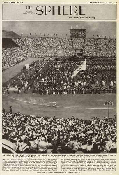 Photograph taken during the opening ceremony of the 1948 Olympic Games in London, as the last runner enters Wembley Stadium with the Olympic flame, ready to set light to the Olympic Altar. Date: 1948