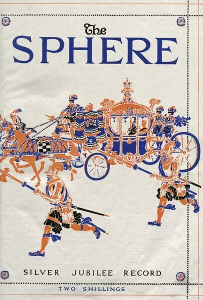 This special cover for the Sphere's Silver Jubilee Record is silver and features a royal carriage and attendant guards and footmen. 1935