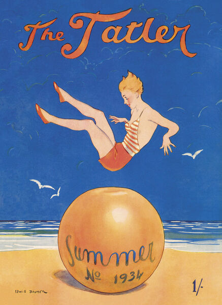 Jolly front cover illustration for The Tatler by Lewis Baumer showing a girl in a swimsuit bouncing on a large beach ball