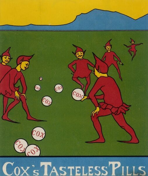 Six jolly imps play a ball game with some large examples of Cox's Tasteless Pills