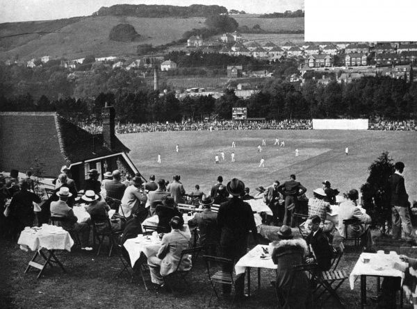 The lovely Crabble cricket ground at Dover, Kent, which was used by Kent County Cricket Club from 1907 to 1976. The match in progress is between Kent and Yorkshire, which was won easily by the visitors who went on to win the County Championship that season