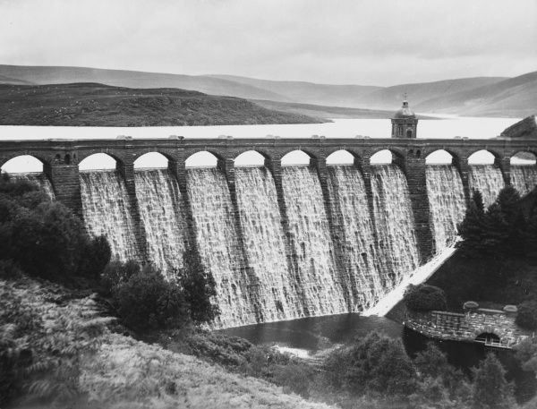 Craig-Y-Alt-Goch Dam and Reservoir, Elan Valley, Radnorshire, Wales, one of the reservoirs which which provides Birmingham, 80 miles away, with its water supply