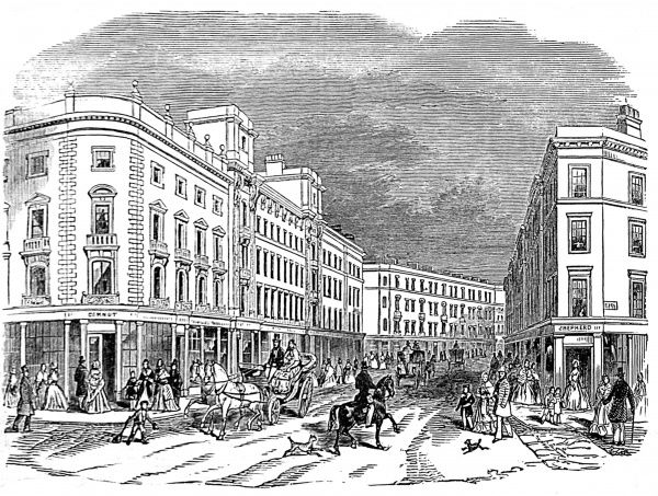 Engraving showing Cranbourne Street, London, in 1845, shortly after a number of improvements to the area