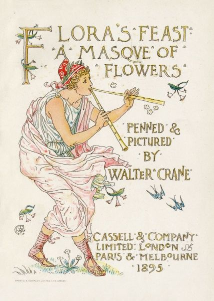 FLORA'S FEAST: A MASQUE OF FLOWERS Title page featuring a pipe-playing figure