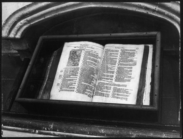 Archbishop Thomas Cranmer's bible, in the North Choir Aisle, Canterbury Cathedral, Kent, England