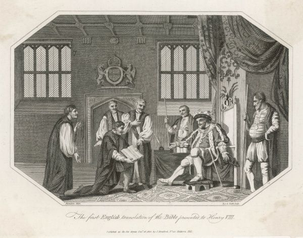 Henry VIII is presented with Cranmer's Bible - the first English translation
