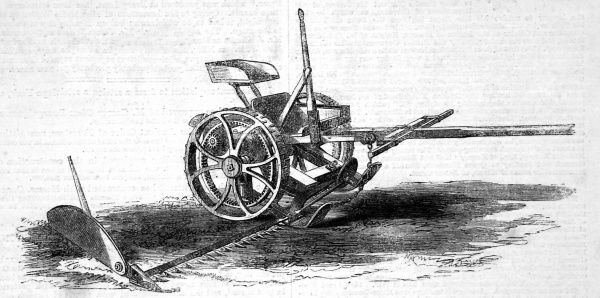 Engraving of Cranston's wood grass mowing machine of 1862