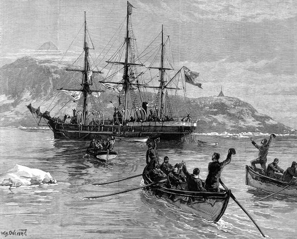 Engraving showing the crew of the 'Eira' Arctic Expedition of 1881-1882, led by Benjamin Leigh Smith, in the boats (foreground) reaching the safety of the yacht 'Hope', August 1882