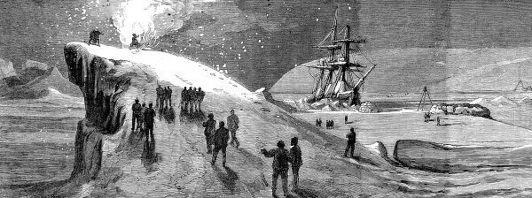 Engraving showing the crew of HMS 'Alert' burning a Guy Fawkes, during the British Arctic Expedition, 5th November 1875