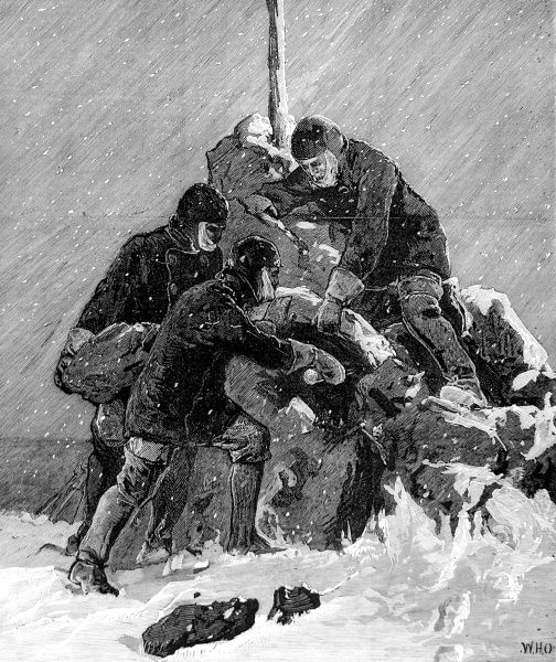 Engraving showing the crew of the ship 'Pandora' recovering mail, left by the British Arctic Expedition of 1875, from the cairn on top of Carey Island. In this way, the 'Pandora' acted as postal carrier between the expedition