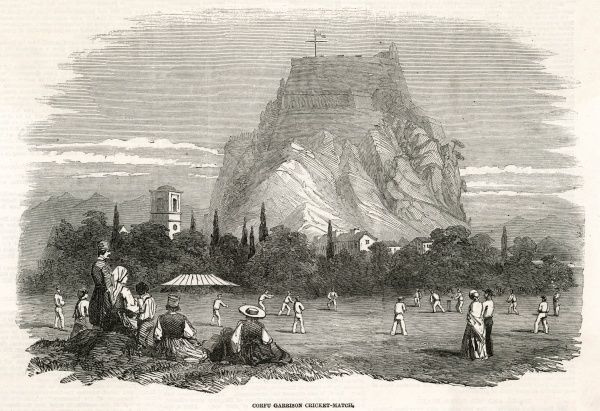 The soldiers stationed at the garrison on Corfu play a cricket match. Date: 1853
