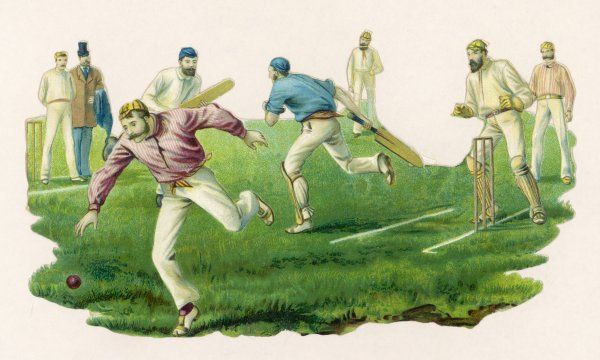 A cricket match in progress. The batsman has clipped the ball square and a finely be- shirted and facially hirsute fielder gives chase