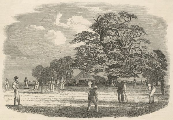 A village cricket match. Date: 1853